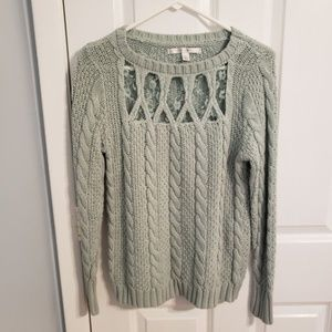 LC Lauren Conrad Mint Cable Knit Sweater